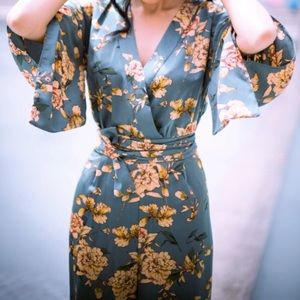 Zara Floral Kimono Style Jumpsuit